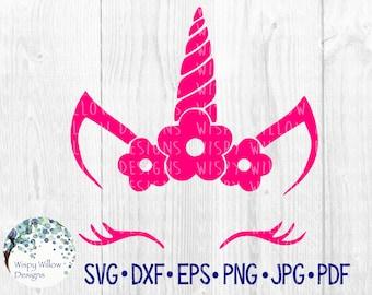 Sale!!!! ~ Floral Unicorn Face, SVG, DXF, png, jpg, eps, Unicorn, Flower, Digital Download, Vinyl Decal, Cricut, Cut File