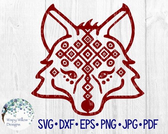 Tribal Fox Face Wolf Dxf Png Jpg Eps Boho Animal Etsy