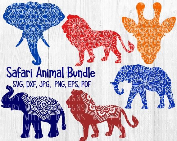 Safari Animal Mandala Svg Bundle Dxf Lion Elephant Etsy