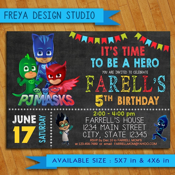 PJ Masks Invitation Birthday Party