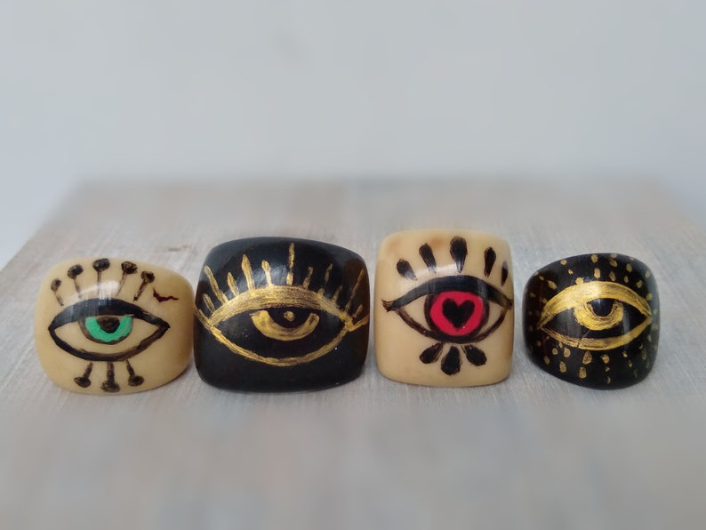 All seeing eye ring illuminated ring golden eye hand painted. tagua ring