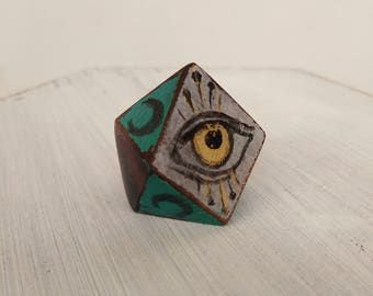Third eye ring, wooden ring, hand painted ring, vintage style.