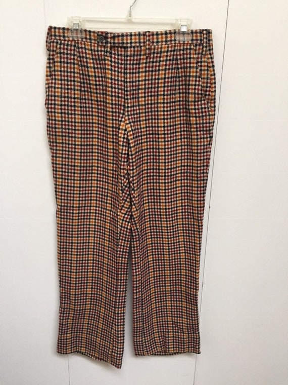 1970s Wool Plaid Flared Pants