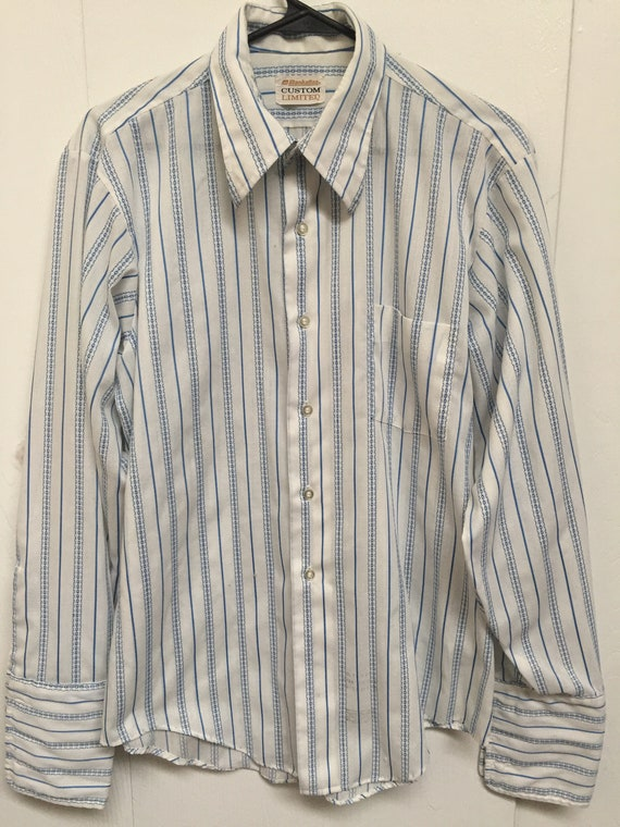 1970s Striped french collar dress shirt