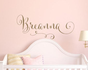 Swirly Name Wall Decal  Girl Nursery Wall Decal  Personalized Girls Name Wall  Decal
