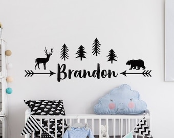 Personalized Kids Name Wall Decal   Forest Wall Decal Nursery   Woodland Wall  Decal Nursery   Removable Wall Decal With Name   Nursery Decor