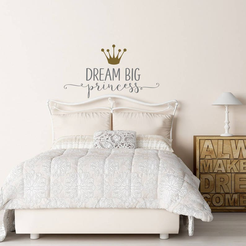 Girls Bedroom Wall Art Quote Vinyl Sticker Dream Big Princess With Butterfly
