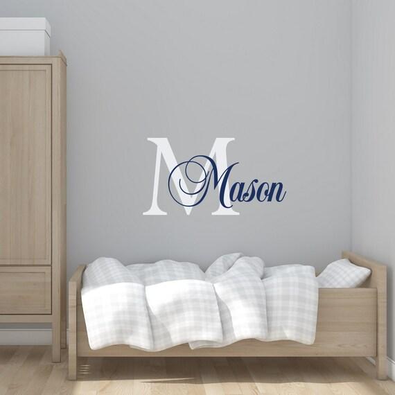 Garçon personnalisé nom Wall Decal - initiale garçon chambre d ...