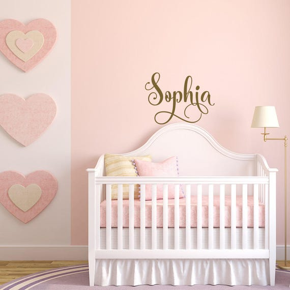 Baby Girl Nursery Wall Decal- Gold Decal for Girls Room Decor- Name Decal-  Wall Decals for Girls- Personalized Name Wall Decal Girl Bedroom