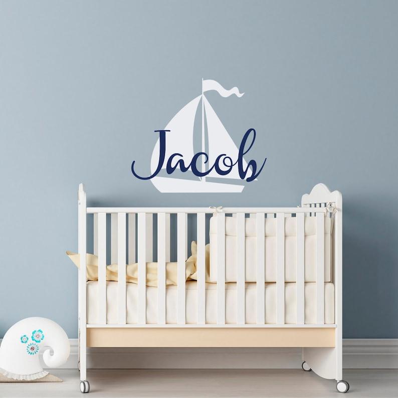 Jungen Namen Wandtattoo - Baby Kinderzimmer Wand Aufkleber -  personalisierte Name Wand Aufkleber Kinderzimmer Dekor - nautische Name  Aufkleber jungen ...