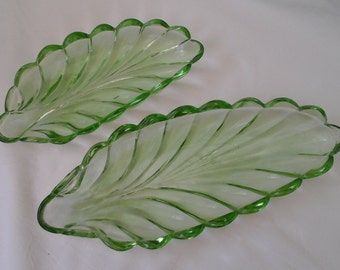 Two Vintage Green Glass leaf-shaped Serving Dishes