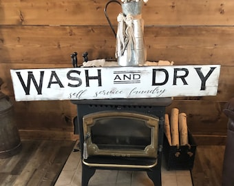 Laundry sign- Farmhouse sign sign Laundry sign Painted wood sign