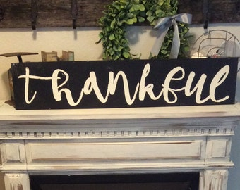 Thankful sign/ country sign/ farmhouse decor/ 3 ft large/wood sign