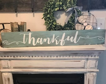 Thankful Sign / teal sign / farmhouse style sign / home sign / farmhouse wall decor / hand painted sign
