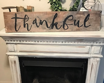 Thankful sign / rustic / 3 ft / country sign / farmhouse decor / painted wood sign /distressed sign / vintage