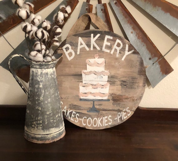 Round Bakery Sign Vintage Bakery Sign Farmhouse Bakery Etsy