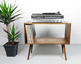 Mid Century Modern Record Console, Record Player Console, Record Player  Storage