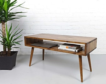 Mid Century Modern Coffee Table, Mid Century Coffee Table   Aged Walnut