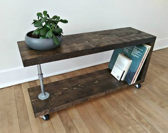 Rustic Bookshelf, Vinyl Record Storage, Side Console. Modern Rustic  Industrial Reclaimed Furniture