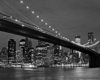Brooklyn Bridge at Night Black and White - Canvas