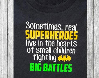 Personalized Superhero Fighting Big Battle T-Shirt customized and personalized for rare diseases, childhood cancer, brave chemo warrior