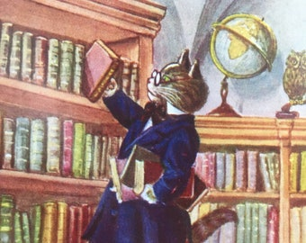 Vintage Librarian Cat Card, Library Cat Card, Library Card, Vintage Books Card, Teacher Card