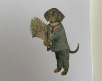 Dachshund with Flowers Notepad, Memo Pad, Vintage, Hostess Gift, Professor , Teacher , Stationery, print, sister, mother, vintage, Gift Note
