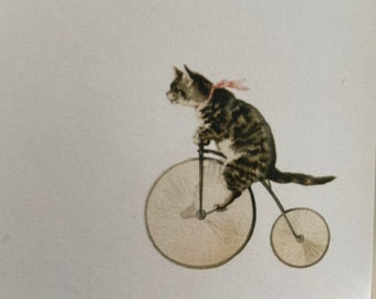 Cat on Bike Notepad, Memo Pad, Vintage, Hostess Gift, Professor , Teacher , Stationery, print, sister, mother, vintage, bicycle, tricycle