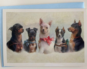 Vintage Chihuahua Card, Dog Card, Dog Lover Card, Greeting Card, Birthday Card, Thank you, Dog Sitter, Trainer, Party Invitation, Teacher