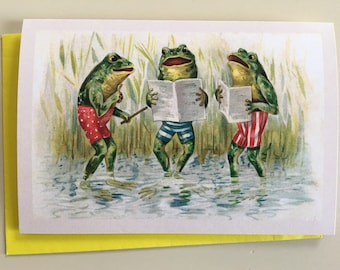 Singing Frogs Card Choral Greeting Music Teacher Professor Lesson Singer