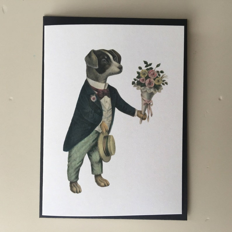 Dog with flowers Mini Card Birthday Card Vintage Card Retro image 0