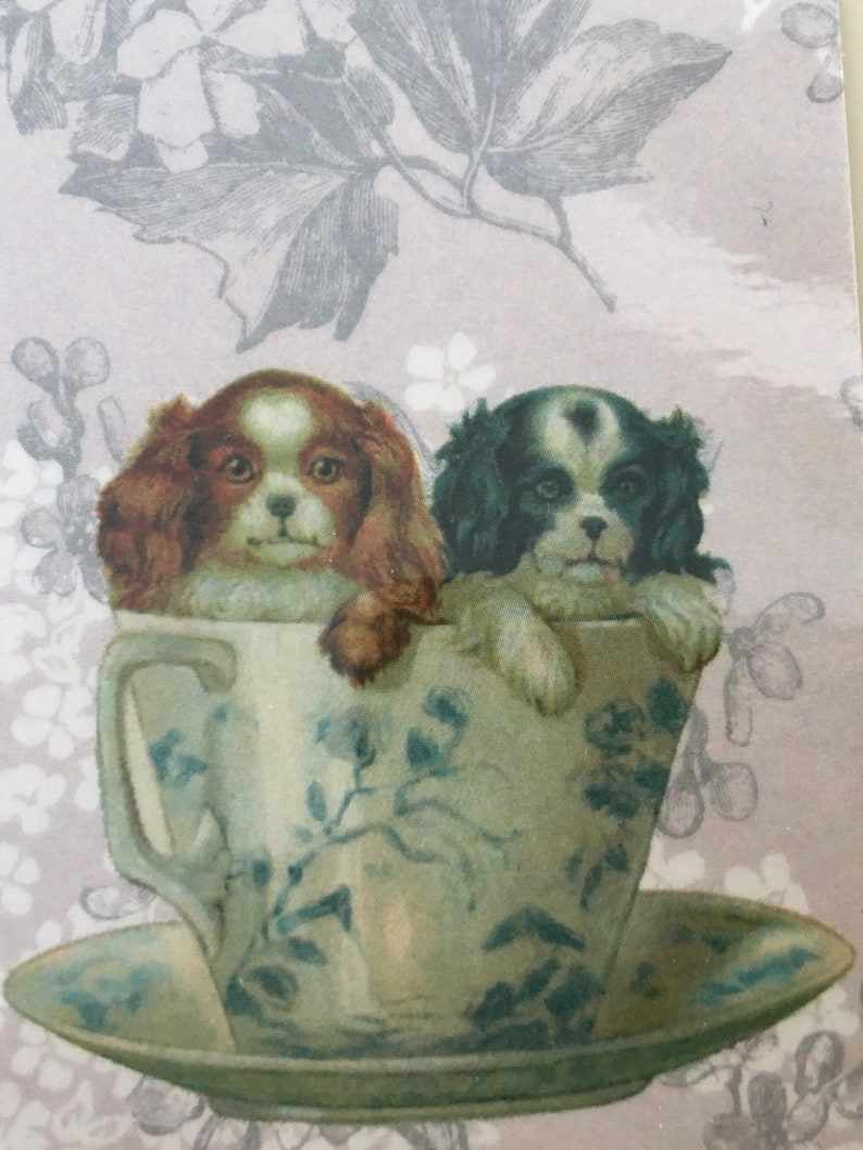 Dogs in a Cup Bookmark Feminine Bookmark Vintage Bookmark image 0