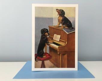 Vintage Dachshund Card, Piano Card, Singing Card, Greeting Card, Love Card, Valentine Card, Singing lesson, Professor Card, LGBT Card, Gay