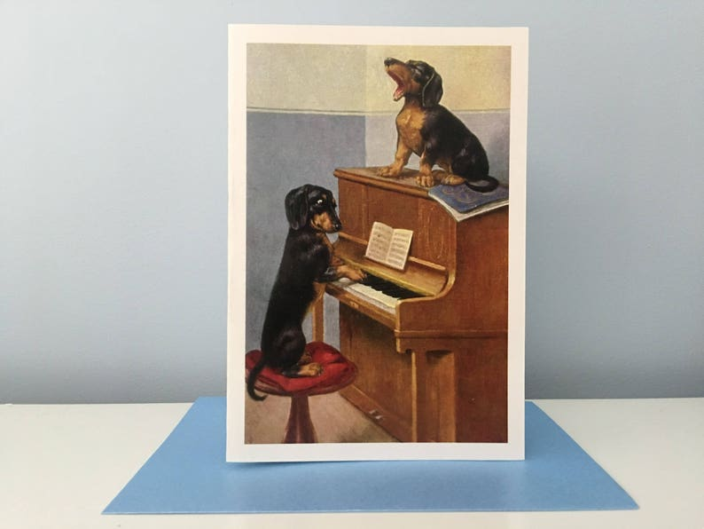 Vintage Dachshund Card Piano Card Singing Card Greeting image 0