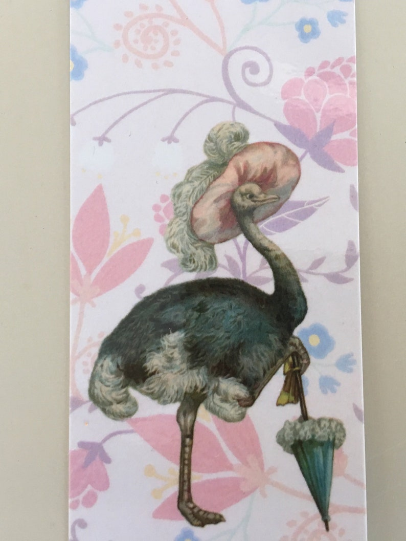 Ostrich with umbrella Bookmark Feminine Bookmark Vintage image 0