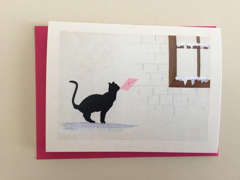 Vintage Cat Mini Card Holiday Card Vintage Card Retro image 0