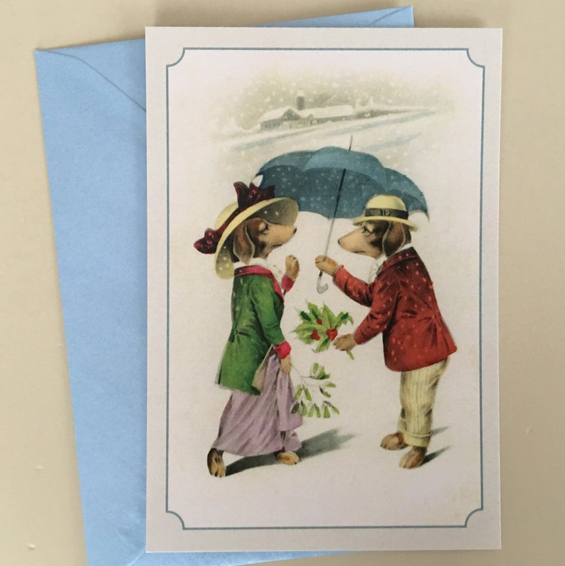 Vintage Dachshund Couple Postcard Love Card Couple Card image 0
