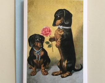 Vintage Dachshund Couple Card, Love Card, Couple Card, Greeting Card, Love Card, Valentine Card, Lovers Card, Anniversary Card, Wedding card
