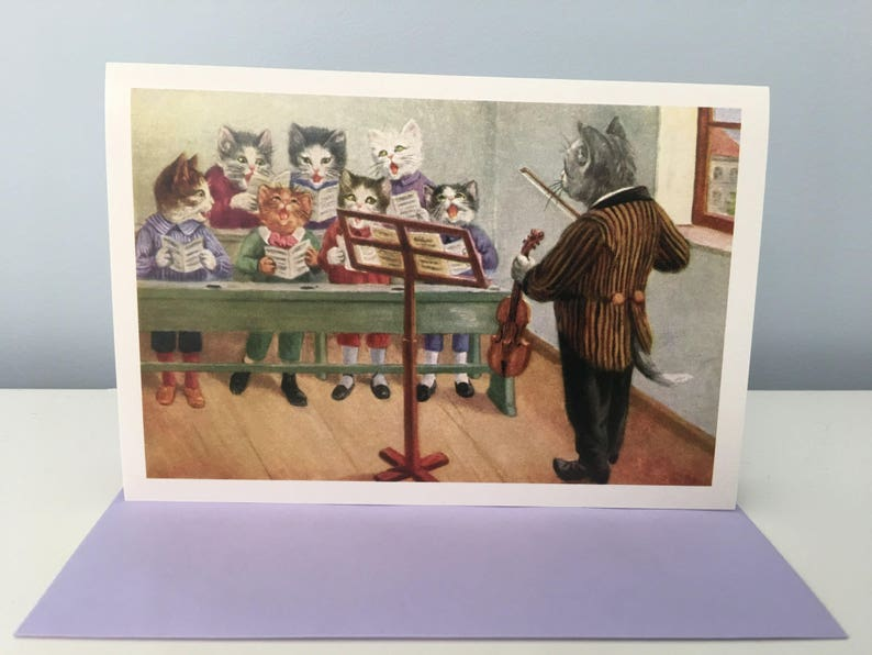 Music Lesson Greeting Card Cats Class Card Vintage Image image 0