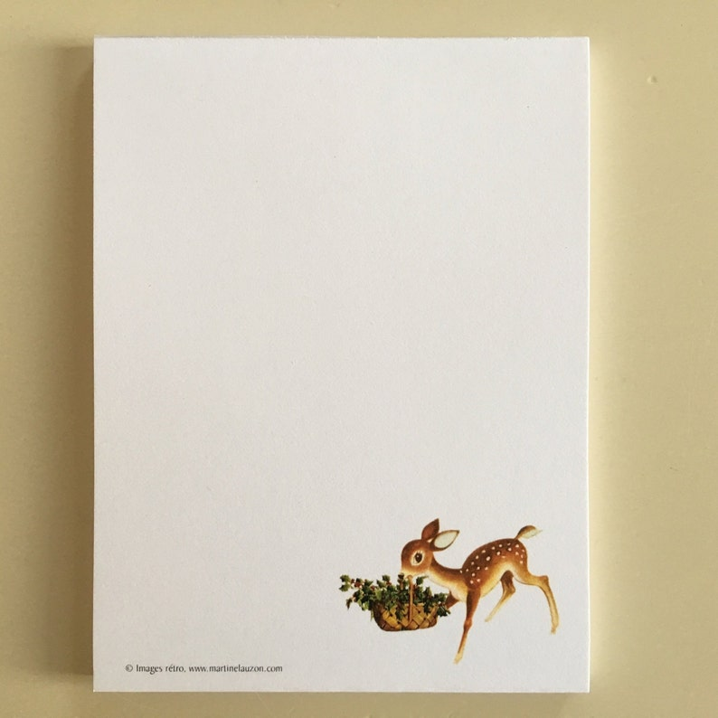 Christmas Fawn Notepad Doe Notepad Reindeer Memo Pad Holly image 0