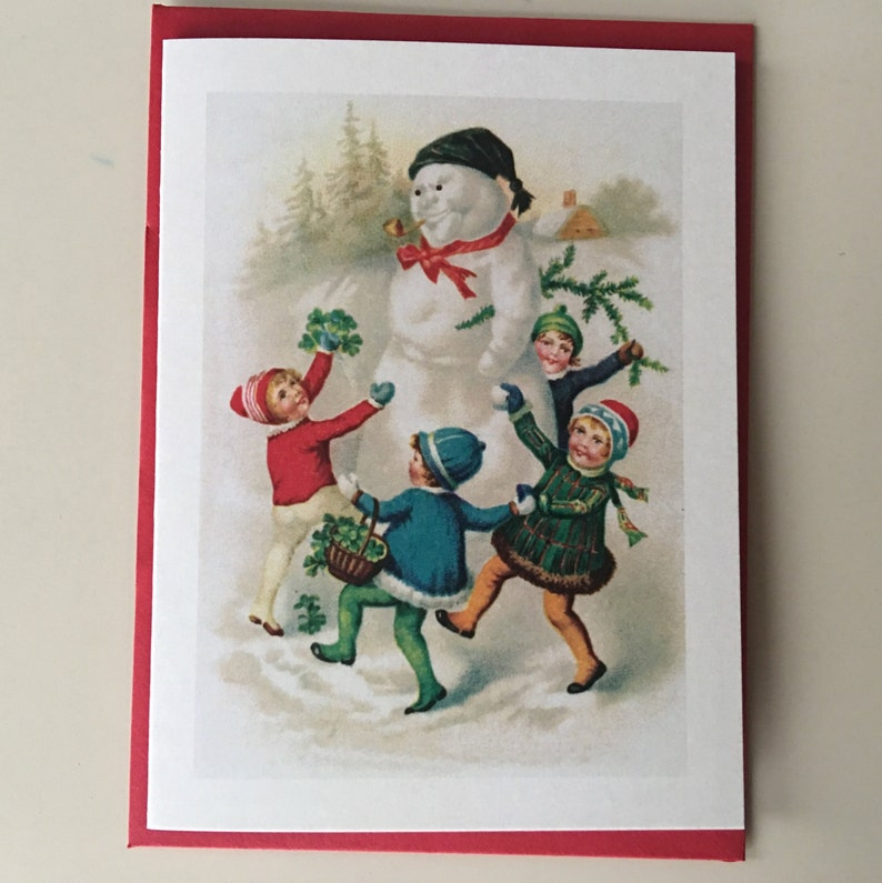 Children with Snowman Mini Card Holiday Card Vintage Card image 0