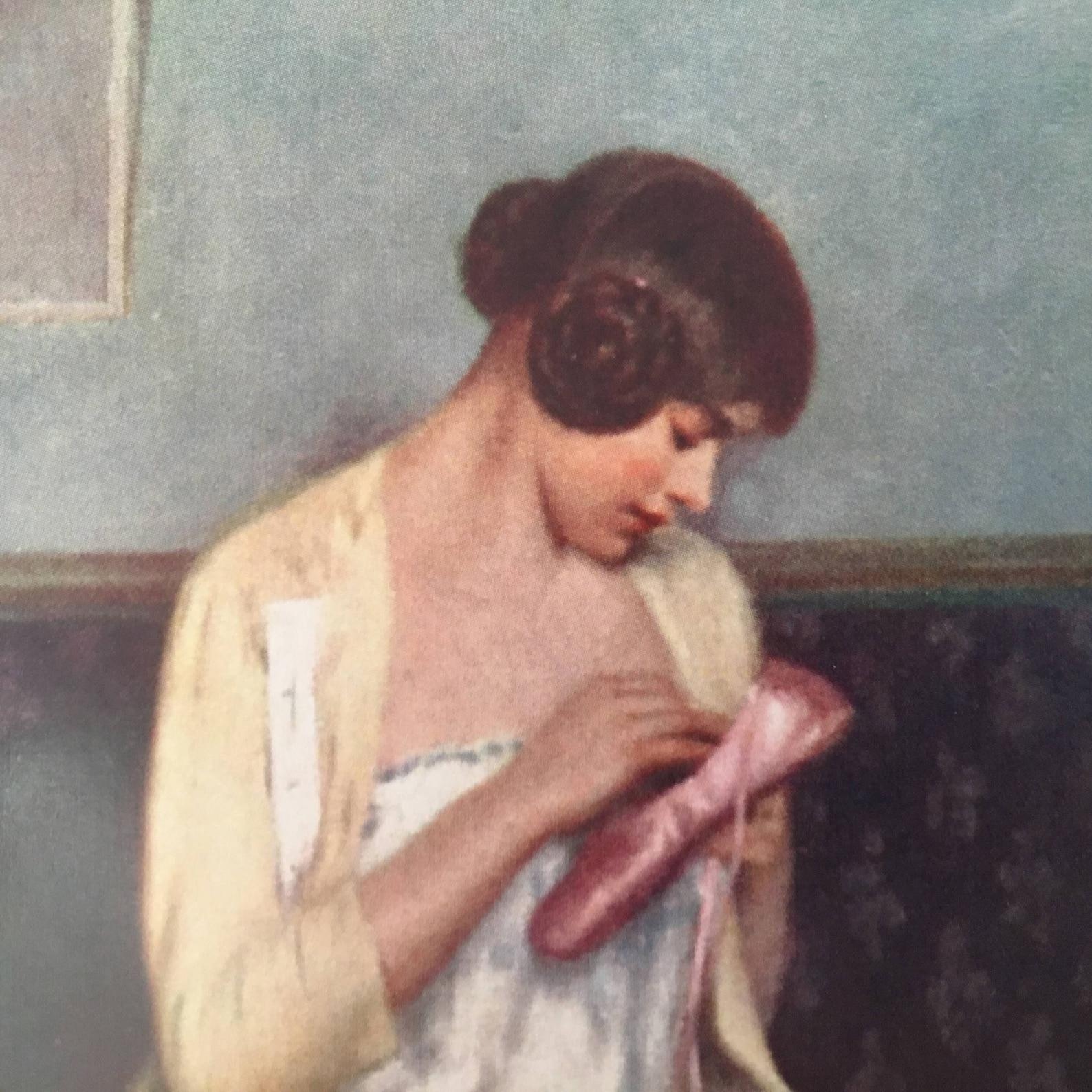 vintage ballerina mending her shoe card, ballet card, ballerina greeting card, mother's day card, carrier-belleuse card, dan