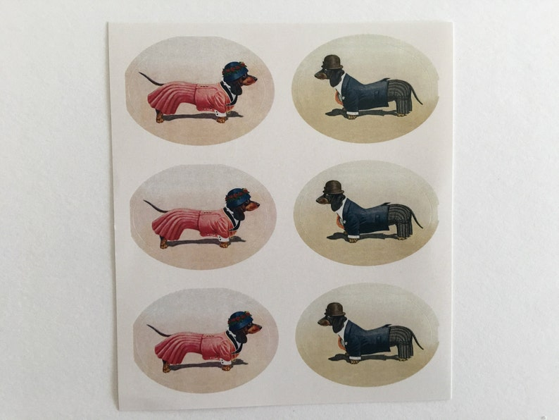 Vintage Dachshund Stickers Birthday Stickers Teacher image 0
