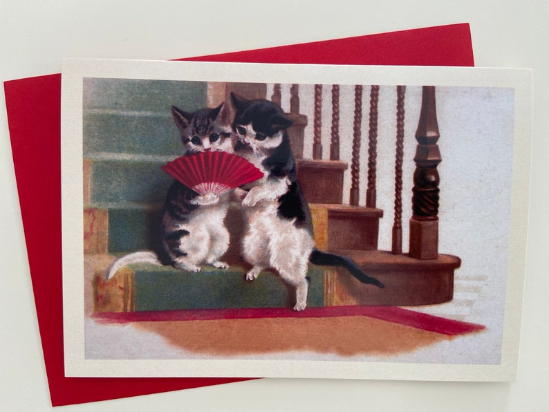 Vintage Cat Couple Card with Red Fan Anniversary Greeting image 0