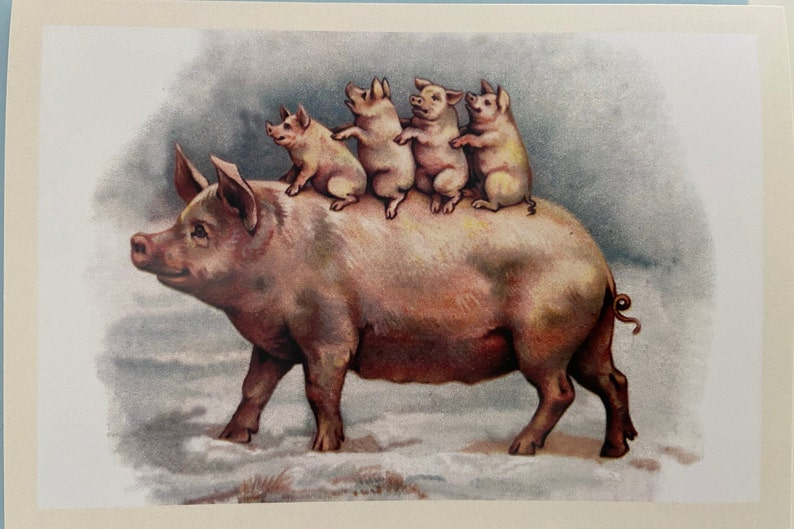 Vintage Pig Family Card Holiday Card Birthday Card Winter image 0