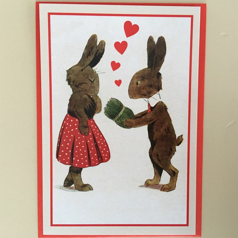 Vintage Rabbits Couple Postcard Love Card Couple Card Love image 0