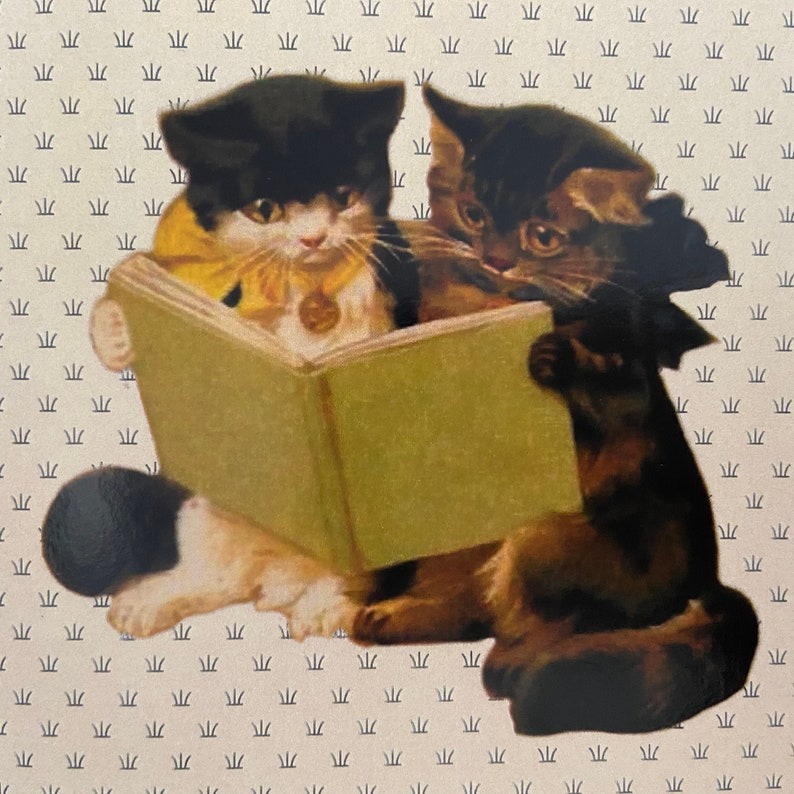 Vintage Reading Kittens Card Book Cat Card Library Card image 0
