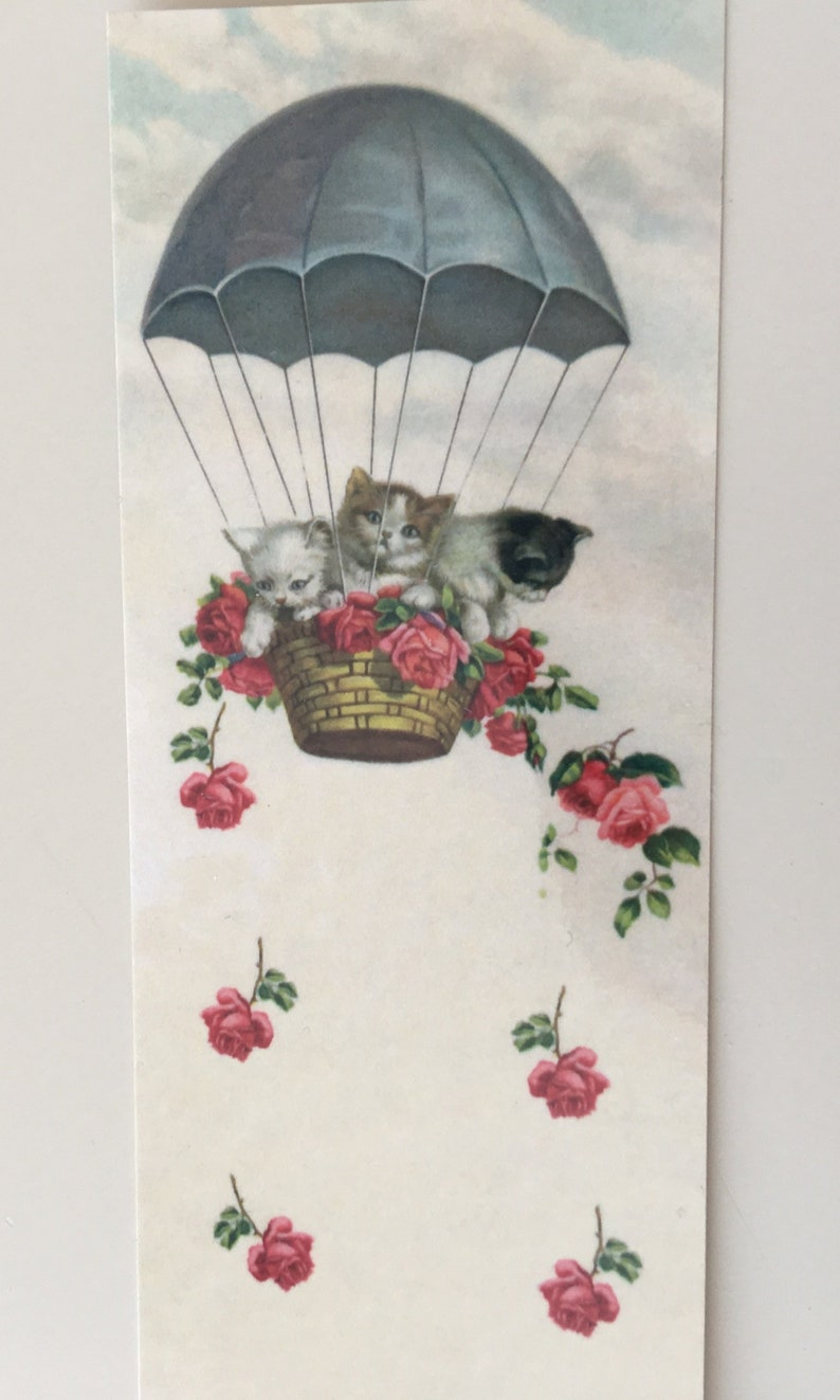 Kittens in Balloon Bookmark Vintage Bookmark Book Clip Tag image 0