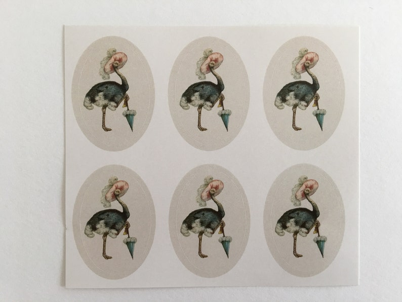 Vintage Ostrich Stickers Birthday Stickers Teacher Stickers image 0