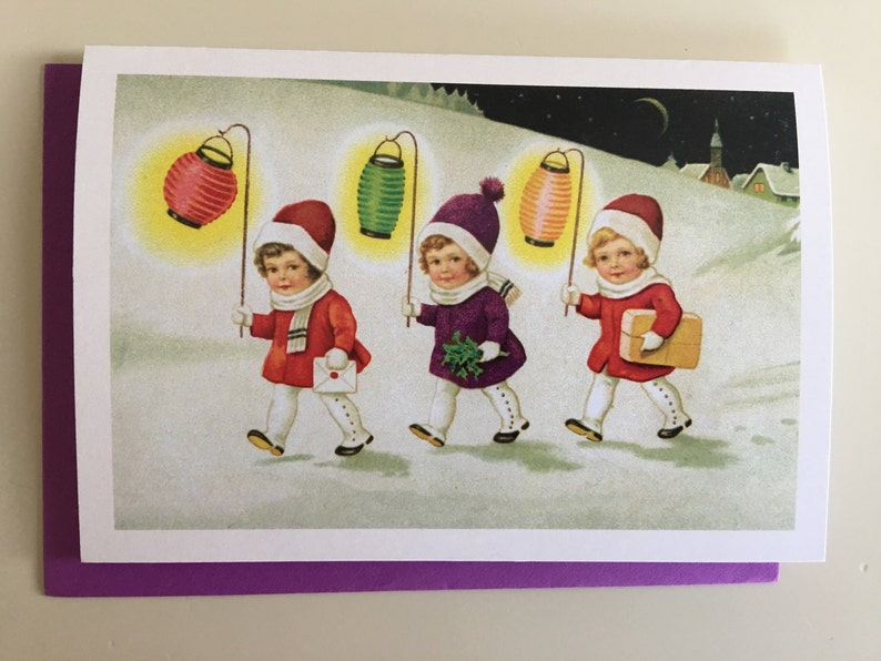 Little Girls with Chinese Lantern Card Holiday Card image 0
